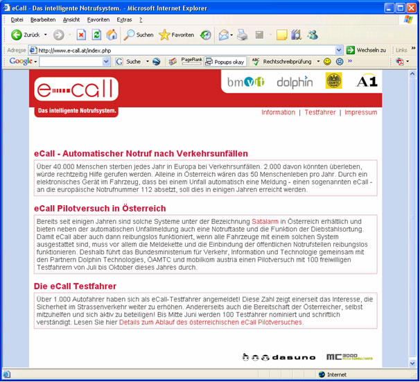 Abbildung 1: eCall Website